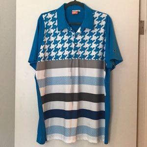 Puma blue pattern polo XL